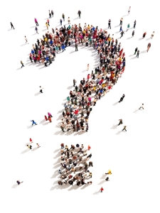 People - forming question mark