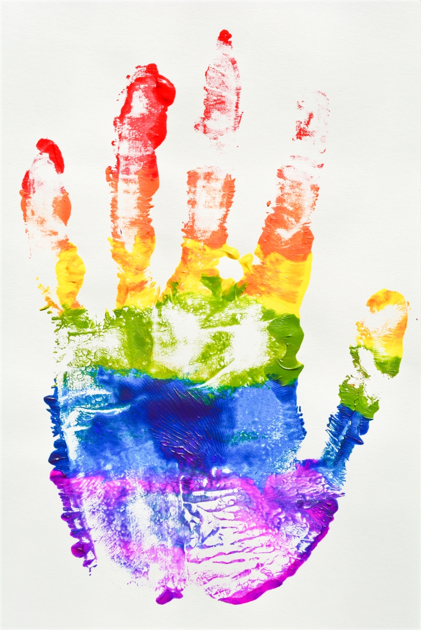 Gay and  LGBT flag rainbow hand, culture symbol.