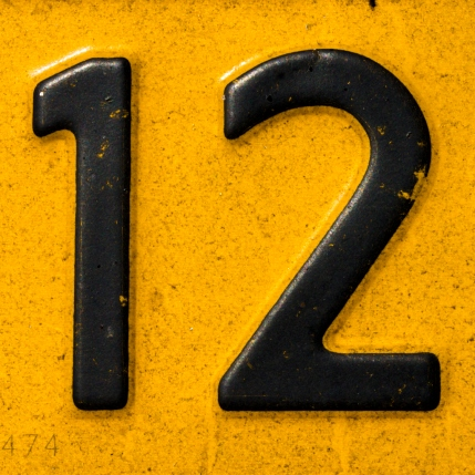 Closeup of a license plate with the number twelve